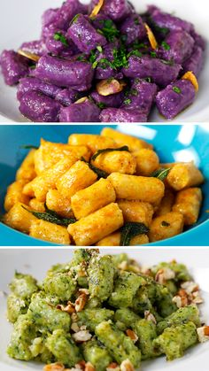 Check out the recipe for 3 Flavors of Gnocchi from Tastemade Brazil . - Check out the recipe of 3 Gnocchi Flavors from Tastemade Brazil - Veg Recipes, Vegetarian Recipes, Dinner Recipes, Cooking Recipes, Healthy Recipes, Gnocchi Recipes, Pasta Recipes, Homemade Pasta, Food Videos