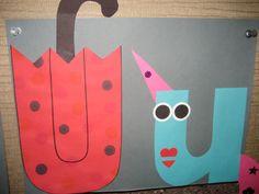 """Uu"" Letter of the week art project: umbrella & unicorn Letter U Crafts, Abc Crafts, Alphabet Crafts, Alphabet Art, Alphabet Phonics, Letter Art, Teaching Abcs, Teaching The Alphabet, Learning Letters"