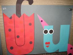"""Uu"" Letter of the week art project: umbrella & unicorn"
