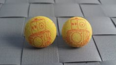 Items similar to Robot Fabric Covered Button Post Earrings Inch] on Etsy Fabric Covered Button, Covered Buttons, Button Earrings, Robot, Trending Outfits, Unique Jewelry, Handmade Gifts, Vintage, Etsy
