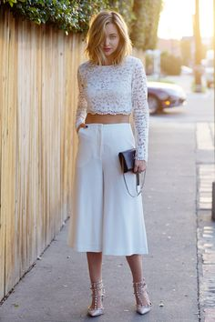 Lace top with floral culottes?
