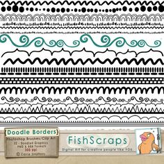 Border Doodle Clip Art and Photoshop Brushes - Hand Drawn - Dashes, Scallops, Zig Zags, Dots - Divider / Frame Graphics - Commercial Use. $4.75, via Etsy.