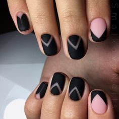 Black and pink nails, Geometric nails, Geometric nails ideas, Nails trends 2016…