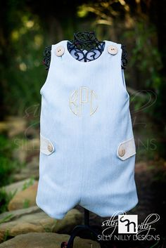 Baby Blue Summer Wool and Linen Monogrammed Jon Jon or Romper for boys. $45.00, via Etsy.
