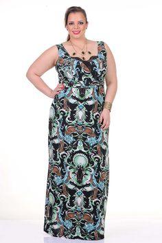 Moda feminina plus size   86870 Vestido longo com renda