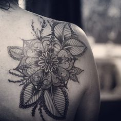 Flower tattoo, Alice Carrier (ink, black  grey, flowers)