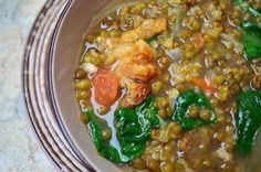 Ginisang Munggo at Chicharon is a delicious mung bean stew flavored with pork cracklings. Thick, hearty and flavorful, it& comfort food at its best! Filipino Dishes, Filipino Recipes, Filipino Food, Bean Recipes, Pork Recipes, Cooking Recipes, Crackling Recipe, Philippines, Soups