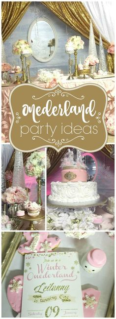 What a pretty winter first birthday in pink, silver, gold and white! See more party ideas at http://CatchMyParty.com!