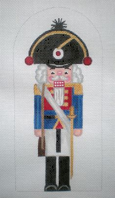 Beautifully hand painted 10 French Stand-up Nutcracker on 18ct. Zweigart needlepoint canvas.
