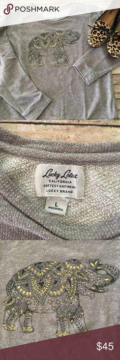 Lucky Brand Lucky Lotus Elephant Sweatshirt Lucky Brand Lucky Lotus SZ Large Elephant Sweatshirt. Lucky Brand Tops Sweatshirts & Hoodies
