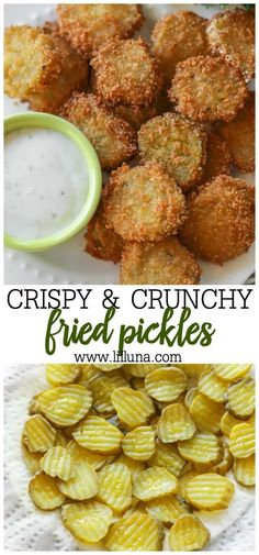 Fried Pickles Deep fried pickles are crunchy, flavorful, and SO tasty! These pickle slices are breaded and fried to perfection, making them a crowd-favorite party appetizer! Vegetarian Recipes, Cooking Recipes, Snacks Recipes, Snacks Ideas, Recipies, Snacks Für Party, Birthday Snacks, Yummy Appetizers, Appetizer Dinner