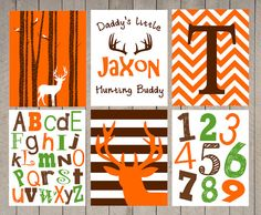 SALE - Nursery Art - Kids Wall Art - Boy - daddy's little hunting buddy- Name Print - Chevron Deer - hunter nursery - boys room