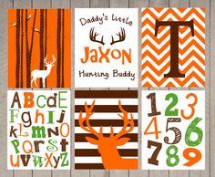 SALE - Nursery Art - Kids Wall Art - Boy - daddy's little hunting buddy- Name Print - Chevron Deer - hunter nursery - boys room