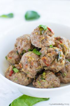 An easy exotic no fuss Laotian meatball that sends your tastebuds on a South East Asian adventure! Thai Recipes, Pork Recipes, Asian Recipes, Cooking Recipes, Asain Food, Laos Food, Asian Cooking, Food N, Meatball Recipes