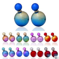 imitation pearl earrings fashion trendy coated printed double created simulated pearl ear stud earrings for women