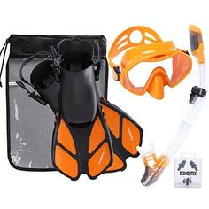 ELEMENTEX Scuba Diving Mask and Dry Top Snorkel Set w// Trek Fins /& Mesh Bag