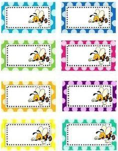 Classroom Labels, Classroom Decor, Bee Activities, Book Labels, School Labels, School Clipart, Binder Organization, Bee Theme, School Decorations