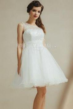 Col haut robe de mariée civile courte dentelle tulle