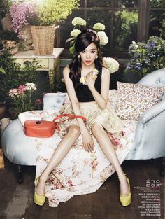 Girls' Generation(SNSD) Tiffany's Gorgeous Floral Theme for CeCi August Issue . Yoona, Sooyoung, Tiffany Snsd, Tiffany Girls, Tiffany Hwang, Kpop Girl Groups, Korean Girl Groups, Kpop Girls, Girls' Generation Tiffany