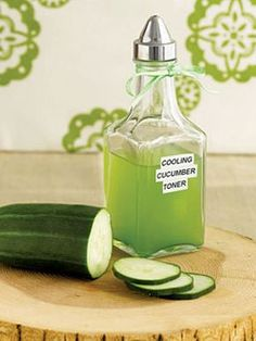 "DIY Cooling Cucumber Face Toner : ""This toner is very mild and works well for all skin types. Cucumber is great for soothing and softening skin because it has the same pH as healthy skin. If you ever wake up feeling like your face is a little puffy, this toner is your best bet for calming and tightening your skin.""~Women's Day Magazine"