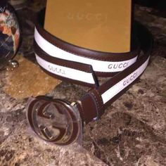 New Gucci Belt Brown White Gold 100% Authentic FLASH SELL! MISS OUT OH WELL! BRAND NEW 100% AUTHENTIC W/ SERIAL # 100% REAL LEATHER BROWN/WHITE GUCCI BELT Serial # 121282-0959-80-82. Ships same day as payment is received with just 2 day shipping! Oh yea, you get it that FAST! Thanks for viewing! Gucci Accessories Belts