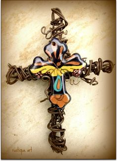 Barbed Wire Cross with Ceramic cross