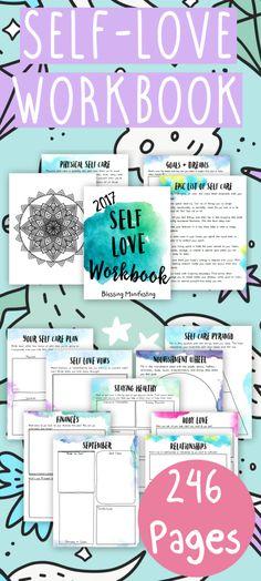 Self love planner, workbook, printables, worksheet