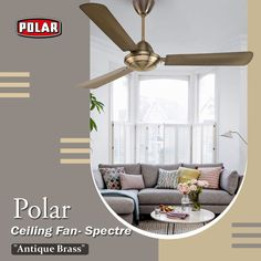 Beautifully crafted ceiling fan by Polar with electroplated and lacquered finish. #Polar #Fan #CeilingFan #PolarSpectreCeilingFan Antique Ceiling Fans, Antique Brass, Curtains, Antiques, Crafts, Home Decor, Antiquities, Blinds, Antique