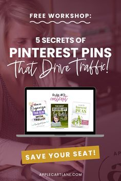 5 Secrets of Pinterest Pins That Drive Traffic - Applecart Lane Designer Friends, Pinterest Diy, New Pins, Inspire Me, Save Yourself, The Secret, Online Business, Workshop, App