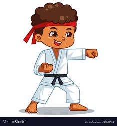 Karate boy performing fist technique vector image on