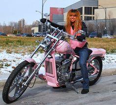 Pretty in Pink Motorcycle Lady Biker, Biker Girl, Pink Motorcycle, Pink Mobile, Honda Shadow, Vintage Trailers, Street Bikes, Bike Design, Pretty In Pink
