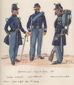 Siege Of Rome 1849, Chasseurs a Pied, Captain 2nd Battalion, Sergeant 1st Battalion & Sapper Grand Tenue 1st Battalion.
