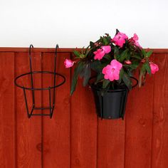 4 x Garden fence pot holders easy fill flower pot holder hook over fence