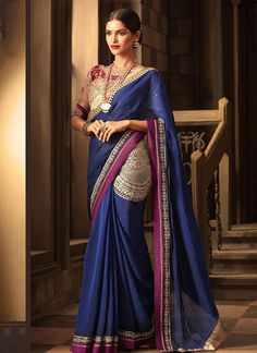 Blue Colour Chiffon Fabric Saree Comes With Matching Blouse Fabric. This Saree Is Crafted With Embroidery,Lace Work. This Saree Comes With Unstitched Blouse Which Can Be Stitched Up To Size Chiffon Saree, Chiffon Fabric, Silk Sarees, Indian Designer Sarees, Designer Sarees Online, Plus Size Prom Dresses, Cheap Prom Dresses, Indian Dresses, Indian Outfits