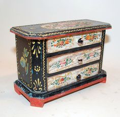 vintage jewelry box, doll dresser painted application decoration german thick antique on Etsy, $90.00