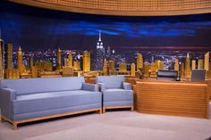 Fine woodworking design is one of the many changes Jimmy Fallon and Seth Meyers have brought to late night television in the past few weeks. Basement Bar Designs, Home Bar Designs, Basement Ideas, Fine Woodworking, Custom Woodworking, Tv Set Design, Late Night Show, Media Room Design, Church Stage Design