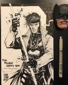 Gambit art and inks by Jim Lee Gambit Marvel, Gambit X Men, Rogue Gambit, Marvel Art, Ms Marvel, Captain Marvel, Marvel Jokes, Marvel Heroes, Comic Book Artists