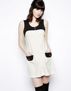 Pop Boutique Colour Block Shift Dress. 50% polyester, 43% cotton, 7% elastane