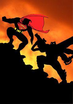 Batman vs Superman by Frank Miller, from The Dark Knight Returns.