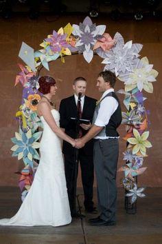 Gorgeous paper wedding arch or chuppah - weddingsabeautiful Diy Your Wedding, Wedding Wall, Wedding Paper, Wedding Ceremony, Wedding Ideas, Wedding Inspiration, Wedding Stuff, Church Wedding Decorations, Flower Decorations