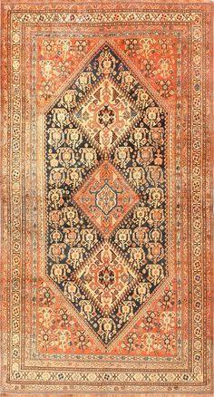 Antique Persian Tribal Qashqai Rug 50648 by Nazmiyal