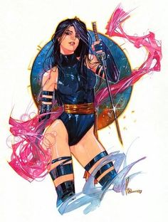 Drawing Marvel Comics Psylocke by Kenneth Rocafort! Hq Marvel, Marvel Comics Art, Marvel Girls, Comics Girls, Marvel Heroes, Cosmic Comics, Marvel Women, Comic Movies, Comic Book Characters