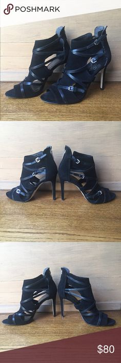 IVANKA TRUMP suede heels w/ leather accents sz 7.5 Sophisticated stilettos- black suede with leather accents and silver buckles - zips in the back - great used condition Ivanka Trump Shoes Heels