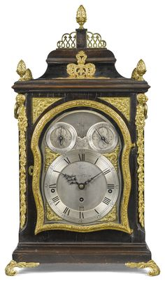 A George III Gilt Mounted Ebonised Musical Table Clock, Thomas Moore,  Ipswich,