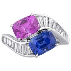 Bulgari Blue and Pink Sapphire Diamond Crossover Ring.