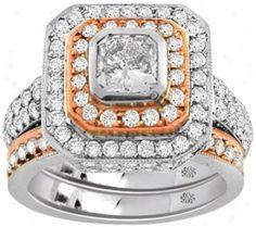 3.22 Carat Malinda3 Diamond 14kt Whlte Ross Gold Engagement Ring.