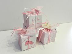 3 X scatole regalo x nascita / compleanno / gift box / Rosa / Pink / Pois / Baby Carriage / Stork / Baby Shoes / di Craft2Arts su Etsy