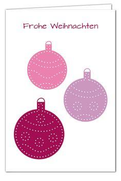 Kugelige Weihnachtsgrüße zum Prickeln - Lila/Flieder/Rosa - Weihnachtskarte mit Umschlag in Pink
