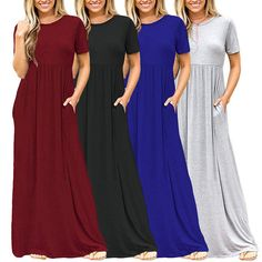 Womens Summer Loose Short Sleeve Soild Cotton Casual Long Maxi Dress Plus Size | Clothing, Shoes & Accessories, Women's Clothing, Dresses | eBay!