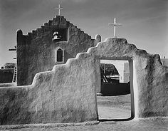 Global Gallery 'Full Side View of Entrance with Gate to the Right, Church, Taos Pueblo National Historic Landmark, New Mexico, by Ansel Adams Framed Photographic Print on Canvas Ansel Adams Photography, White Photography, Straight Photography, Park Photography, Photography Flowers, Portrait Photography, Travel Photography, Wedding Photography, Richard Avedon